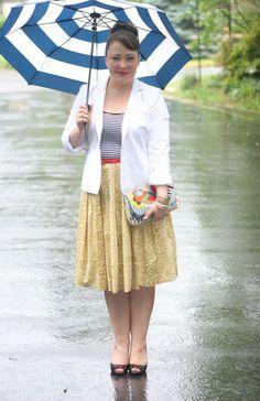Rainy day fashion - stripes with floral skirt and white blazer