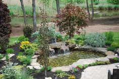 A little too structured/landscaped for me but overall a beautifully arranged small pond, terrific waterfall, love the trees. A Japanese red maple would be a great touch
