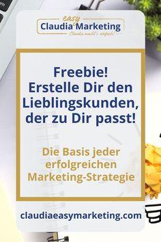 Weißt du genau, wer dein Wunschkunde ist? Mit wem du arbeiten möchtest? Mit diesem Freebie kannst du deinen Lieblingskunden ganz einfach definieren. Mit dem kostenlosen 30-Minuten Workshop kommst du direkt in die Umsetzung. Lege jetzt den Grundstein für deine erfolgreiche Marketing-Strategie deines Online-Business. #claudiaeasymarketing E-mail Marketing, Content Marketing, Social Media Marketing, Online Coaching, Entrepreneurship, Workshop, Blog Topics, Earn Money Online, Career