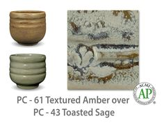 AMACO Potter's Choice layered glazes PC-43 Toasted Sage and PC-61 Textured Amber.