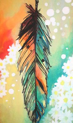 feather and daisies