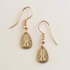 Small Gold Tribal Drop Earrings | World Market