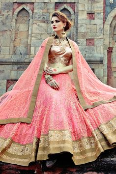 Gold shimmer choli with peach georgette flared lehenga