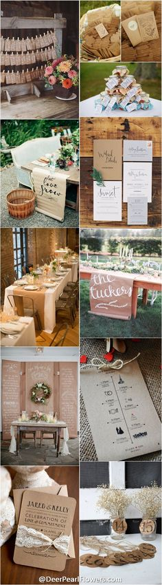 Kraft Paper rustic country wedding ideas / http://www.deerpearlflowers.com/rustic-country-kraft-paper-wedding-ideas/