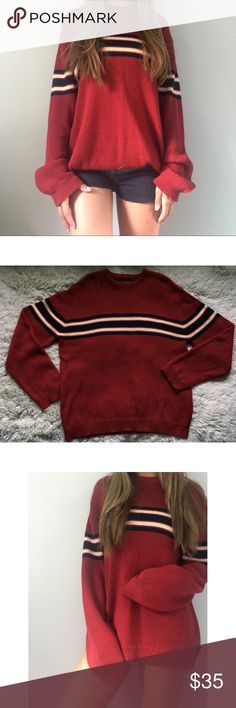 AE red & navy striped sweater 55% Ramie and 45% cotton. Insanely comfortable 😍 Bought from American Eagle Outfitters in the Men's section. So it can fit up to a women's XL, maybe even XXL! Great to pair with jeans, leggings, shorts, anything. My boyfriend loves it on me and doesn't want me to sell, but I just have too many pictures of me wearing this. Has so much life left!!! No rips, snags, or stains! Just a little pilling as seen in last photo American Eagle Outfitters Sweaters Crewneck