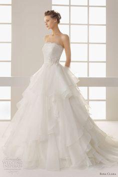 Beautiful! Rosa Clara 2013 two dehesa strapless wedding dress ruffle skirt