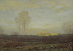 """Tonalist paintings included the Dwight William Tryon oil on board """"Early Morning in Autumn"""" that realized $14,400."""
