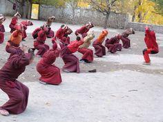 Yoga at Hemis monastery, Ladakh, Himalaya, India