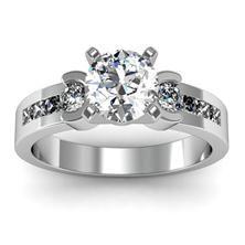 Round & Princess Diamond Engagement Ring set in 18k White Gold