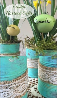 Tin Can Spring Planters with Burlap and Lace
