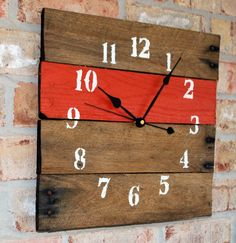 Reclaimed Aged Pallet Wood Wall Clock Orange Spice, Hand Painted Upcycled Repurposed (74 colors)