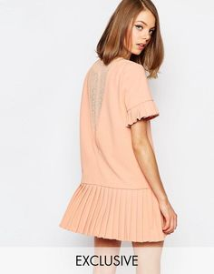 sister jane | Sister Jane Shadowplay Smock Dress With Lace Back & Pleat Skirt at ASOS