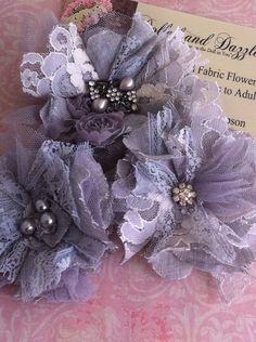 Set of 3/ Gray Shabby Chic Embellishments/ Wedding Hairclips/