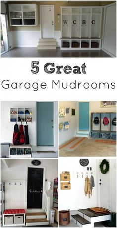 Garage mudroom ideas! Great way to organize kids' things before they get in the house!