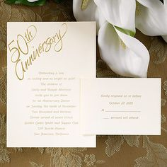 "A classic invitation for your 50th Anniversary. The ""50th Anniversary"" appears in gold foil on this ecru card. The foil design is preprinted and cannot be changed or removed. This ensemble features an informal folder. Respond and reception enclosures will be a card."