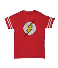 Camiseta clássica The Flash no estilo das camisetas do Sheldon Cooper da série The Big Bang Theory.