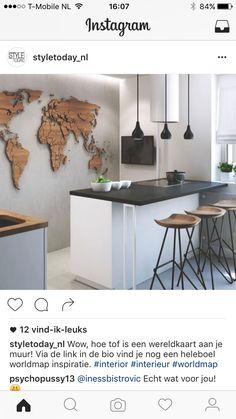 moderne Küche mit Betonwand und Weltkarte aus Holz modern kitchen with concrete wall and world map made of wood Interior Design Kitchen, Modern Interior Design, Kitchen Decor, Modern Decor, Kitchen Ideas, Modern Wall, Kitchen Artwork, Decorating Kitchen, Kitchen Layout
