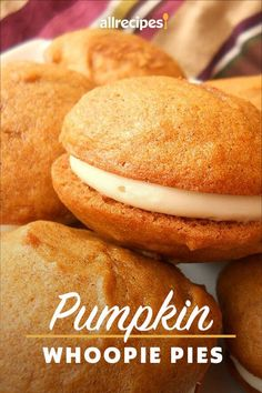 "Pumpkin Whoopie Pies | ""These are absolutely DELICIOUS. I made the batter as directed. "" #cookies #cookierecipes #bakingrecipes #dessertrecipes #cookieideas Pumpkin Whoopie Pies, Pumpkin Cookies, Pumpkin Dessert, Pumpkin Spice, Pumpkin Cheesecake, Just Desserts, Delicious Desserts, Dessert Recipes, Yummy Food"