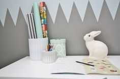 Rustaupp - Kids room with desk and rabbit lamp.