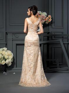 c71a88f905 Corte en A Princesa Escote en V Encaje Sin Mangas Largo Satén Elástico  Vestidos para Madrinas