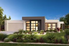 Find 4 bedroom house plans in VIC. Refine the search and discover the best 4 bedroom home designs & floor plans for your dream home. Modern House Facades, Modern House Design, Modern Architecture, Flat Roof House, Facade House, 4 Bedroom House Plans, Design Exterior, Wall Exterior, Custom Home Builders