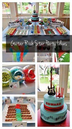 Guitar Rock Star 4th Birthday {Boy Party Ideas} - www.spaceshipsandlaserbeams.com