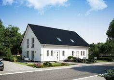 """Fassadenvariante """"pur weiß"""": reine #Putzfassade, moderner Sockelverblender passend zum Dach in silberschwarz #Doppelhaus #Viebrockhaus v4"""