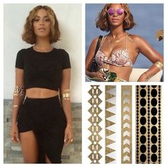 Shop our metallic temporary tattoos at www.jewelcult.com. Just like the ones seen on Beyonce!