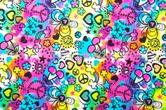 Spandex World - Abstract Print Spandex (Black/Neon Pink/Neon Yellow/Multi) Product ID: 11181