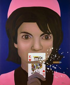 "Stop-Action Reaction  Jacqueline Kennedy, King of Hearts  Oil and acrylic on canvas, 70 x 56"" 1997, Tina Mion"