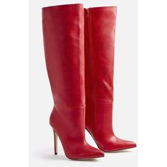 Justfab Heeled Boots Zuria Heeled Boot ($47) ❤ liked on Polyvore featuring shoes, boots, red, red platform boots, stiletto boots, red zipper boots, red heel boots and high heel platform boots