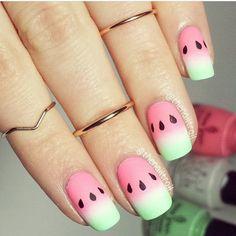 45 Glam Ideen für Ombre Nails Plus Tutorial Nail Art Watermelon Nail Designs, Watermelon Nail Art, Fruit Nail Art, Fruit Nail Designs, Food Nail Art, Ombre Nail Designs, Best Nail Art Designs, Awesome Designs, Diy Nails