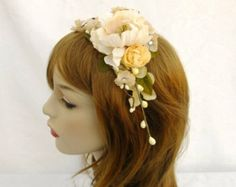 Ivory Flower Crown, Bridal Flower Crown, Flower Headband, Ivory Bridal Headband, Cream Crown, Woodland Wedding, Boho Wedding, Shabby Chic