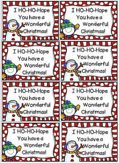 Christmas-Gift Tags, Snowman in a Bag, Snow Dough FREEBIES & Tags via 4th Grade Frolics