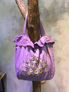 Beautiful Floral Embroidery Crochet Lace Shoulder Bag Cotton Linen Cheap Bag