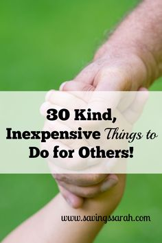 Want to do something to make another person's day. Check out these 30 kind, inexpensive gestures to do for others. You can be the one to make a difference!