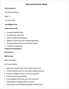 Sample Outside Sales Resume Template  Write Your Resume Much