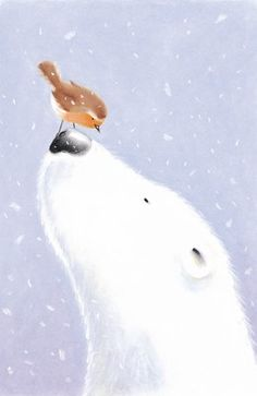 Polar bear and a bird by Gavin Scott