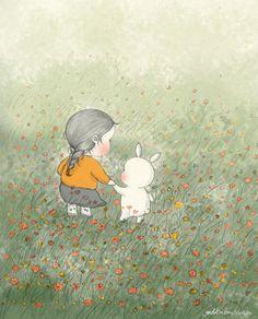바람이 불어오면(When the wind blows) by 꼬닐리오 on Grafolio Illustration Sketches, Illustrations, Drawing Sketches, Cute Disney Drawings, Cute Drawings, Bunny Art, Artists For Kids, Dream Art, Beautiful Drawings