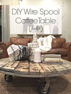 Wire Spool Coffee Table - I have been wanting to make this for a while! My DIY wire spool coffee table is everything I could have hoped for! Its so easy anyone can make it. Repurposed Furniture, Pallet Furniture, Furniture Projects, Rustic Furniture, Painted Furniture, Furniture Design, Wood Spool Furniture, Pallet Desk, Classic Furniture