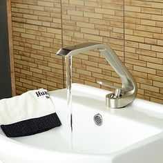 Luxury classic Contemporary Style Single Handle One Hole Nickel Brushed Hot and Cold Taps Bathroom Sink Faucet - Matt silver CSZ Bathroom Sink Faucets, Bathroom Wall, Large Bathrooms, Polished Nickel, Brushed Nickel, Bath Fixtures, Kitchen And Bath, Contemporary Style, Chrome