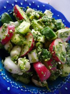 Cucumber , Radish and Broad Bean Salad with Radish Leaf and Feta Pesto Cucumber Recipes, Salad Recipes, Bariatric Recipes, Bariatric Food, Easy Healthy Recipes, Healthy Lunches, Healthy Foods, Kale Pesto, Salads