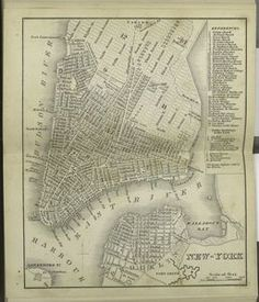 GOODRICH NEW YORK CITY /& VICINITY COPY MAP 1842 A.T