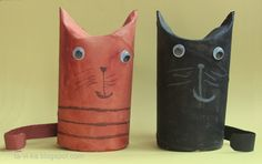Paper cats from toilet paper tubes