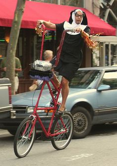 Random Cross Dressing Nun on a Bicycle by Jacob...K, via Flickr