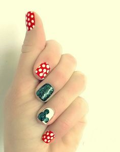 Minnie mouse themed nails