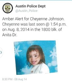 TEXAS AMBER ALERT : Re-Post it, Pin it, Tweet it.  Let's get this girl HOME!