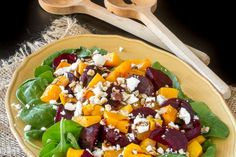 Spinach Salad with Roasted Butternut Squash, Beets and Feta Cheese