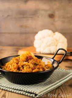 Receta de coliflor salteada con ajos tiernos y pimentón de la Vera Vegetable Recipes, Grains, Recipies, Yummy Food, Healthy Recipes, Cooking, Gluten, Foods, Vegetarian