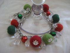 Christmas bracelet and earrings from felt balls by feltinga, $24.90